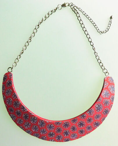 Polymer Clay Crescent Necklace - Red Galaxy