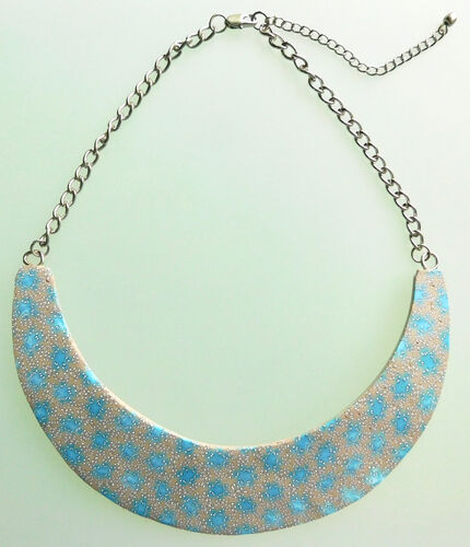 Polymer Clay Crescent Necklace - Blue Galaxy