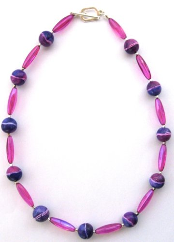 Painted Polymer Clay Bead Necklace