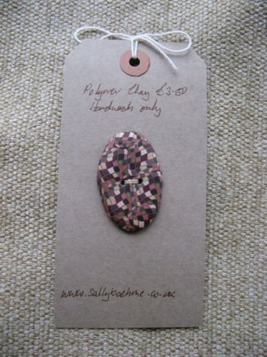 Oval Mosaic Button - Browns