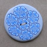 Flowers Button - Blue/White/Grey