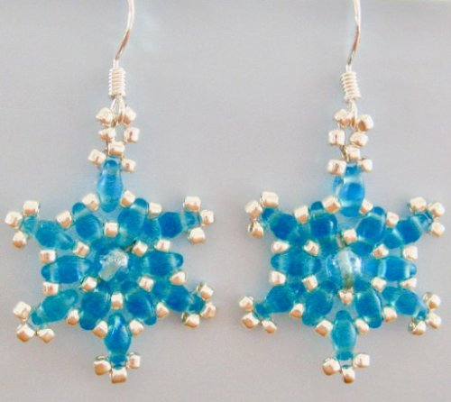 Two Pairs of Snowflake Earrings Kit - Turquoise & Crystal colour ways