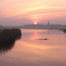Spring: misty sunrise in Waterland