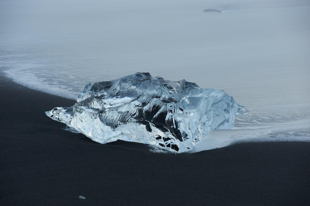 Glacial ice on the beach near Jokulsarlon Lagoon Iceland