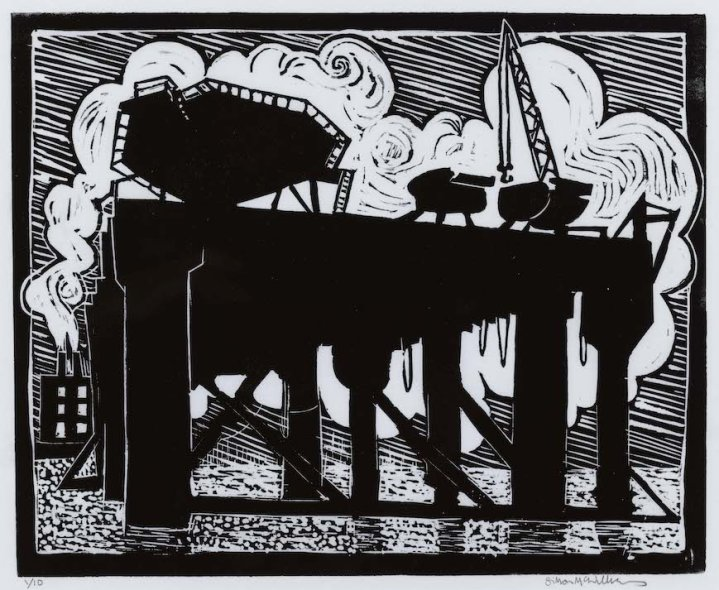 """""""oil Rig at Belfast Docks"""" lino cut relief print on Japanese paper"""