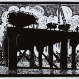 """oil Rig at Belfast Docks"" lino cut relief print on Japanese paper"