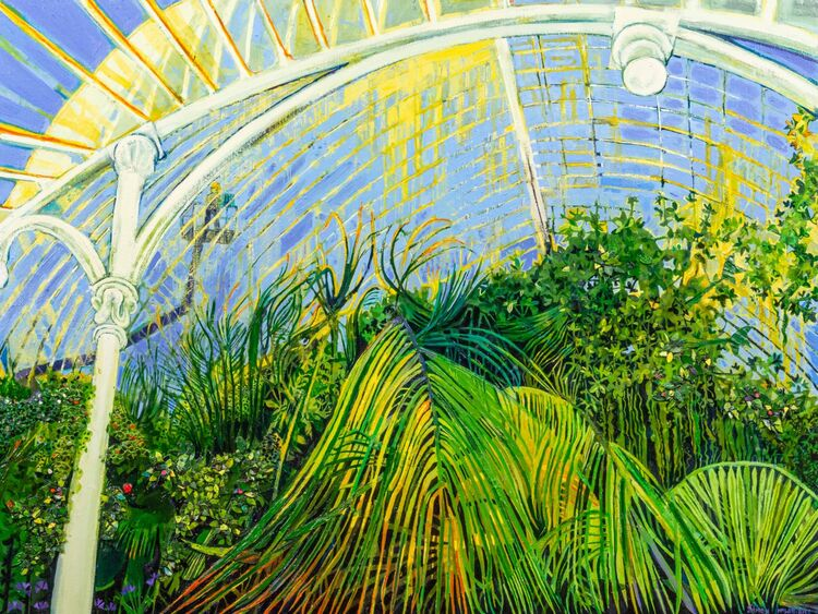 """""""Plants in the palmhouse"""" oil on linen"""