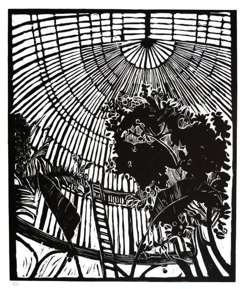 """Palmhouse"" , Linocut on Japanese paper, 45 x 93cm, edition of 15,"