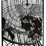 """Palmhouse"" , Linocut on Japanese paper, 45 x 93cm, edition of 15"