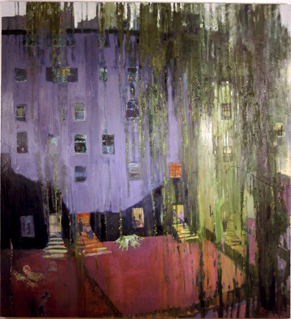 Apartments and willow tree, New York, oil on canvas, Simon McWilliams. Permanent TSB Collection, Dublin