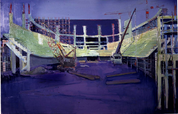 Arena, (The Odessey, Belfast, Under Construction) oil on canvas, Simon McWilliams