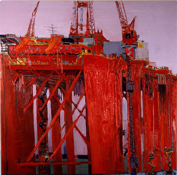 Borgland Dolphin at the Shipyard, oil on canvas, 74 x 77inches