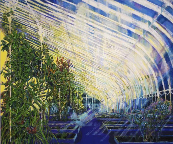 Belfast palmhouse, oil on canvas