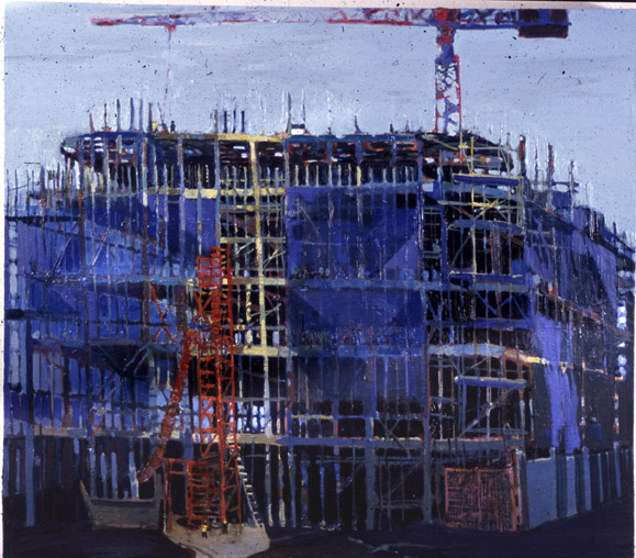 Blue Scaffolding II, oil on canvas, Simon McWilliams