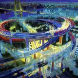 Metropolis 2013, Nanpu Bridge, Shanghai, oil on canvas
