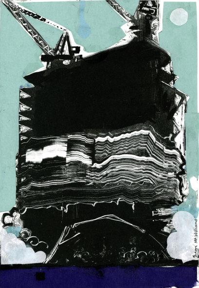 """Newark N.J""  oil on paper with chine collé, unique, 27 x 21cm"