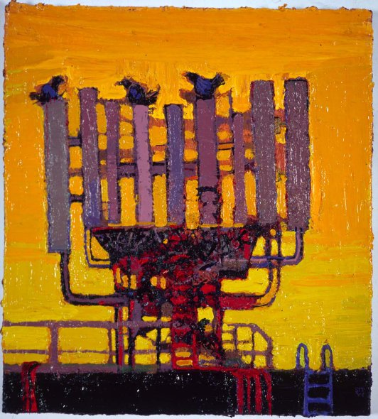 """Phone tree with birds"" oil on canvas 2010"