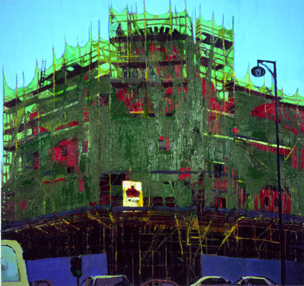 Scaffolding with traffic, oil on canvas, Simon McWilliams