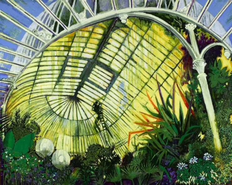 """Sunlit Palm House, Belfast"" oil and mixed media on Linen 2017"