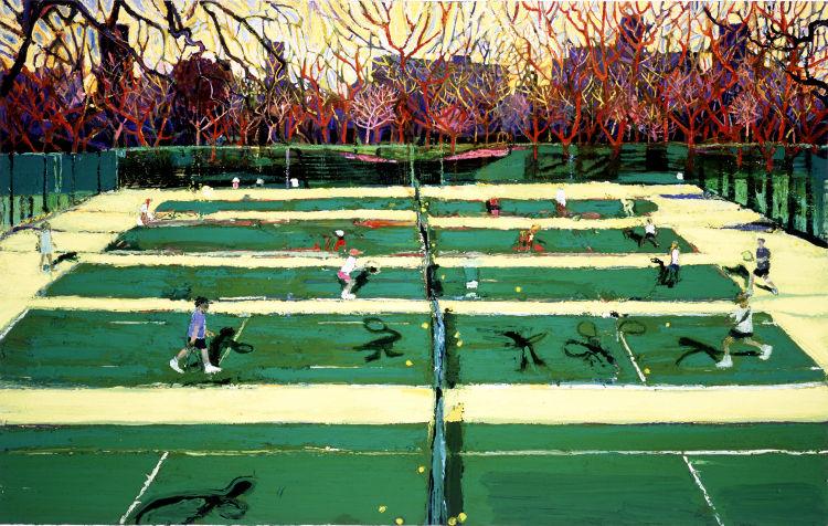 Central Park tennis with shadows, oil on canvas, Simon McWilliams