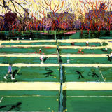 Central Park tennis with shadows, oil on canvas, Simon McWilliams