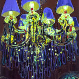 Chandelier with shades, oil on canvas, Simon McWilliams
