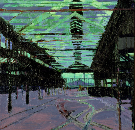 Docks warehouse, oil on canvas, Simon McWilliams