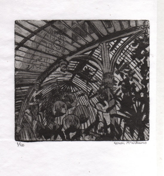 """""""Palm House Belfast"""" - etching, 14 x 16cm, edition of 20"""