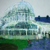 Palmhouse raining, oil on canvas, Simon McWilliams