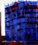 Red and Blue Scaffolding, oil on canvas, Simon McWilliams