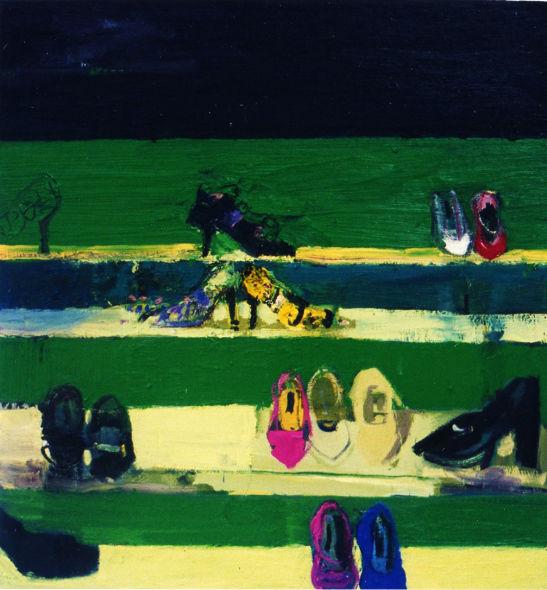 Shoe Shop Bond street London, Oil on canvas, Simon McWilliams