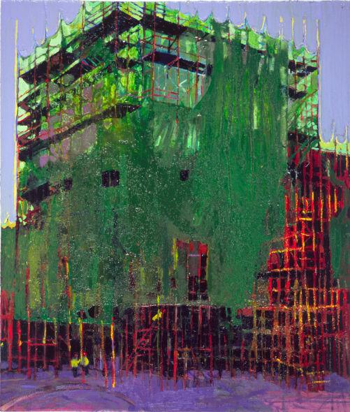 Sunlight on scaffolding, oil on canvas, Simon Mcwilliams