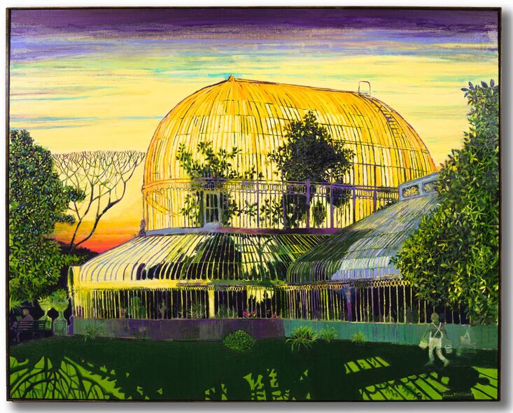 """Sunrise Palm House, Belfast"" oil on linen, private commission 2020"