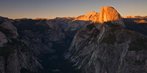 Yosemite. Sunset on Half Dome.