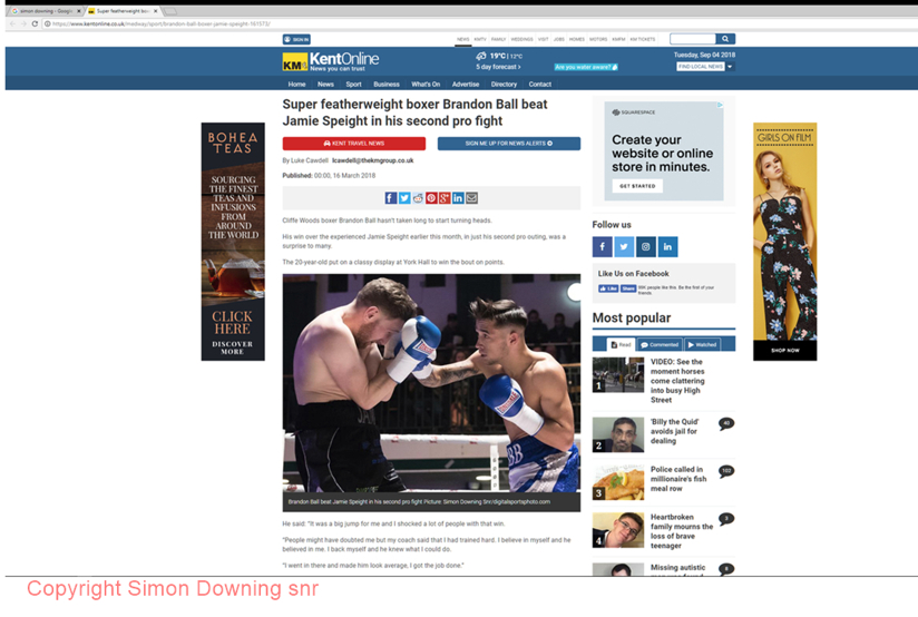 Brandon Ball vs Jamie Speight in Kent Online