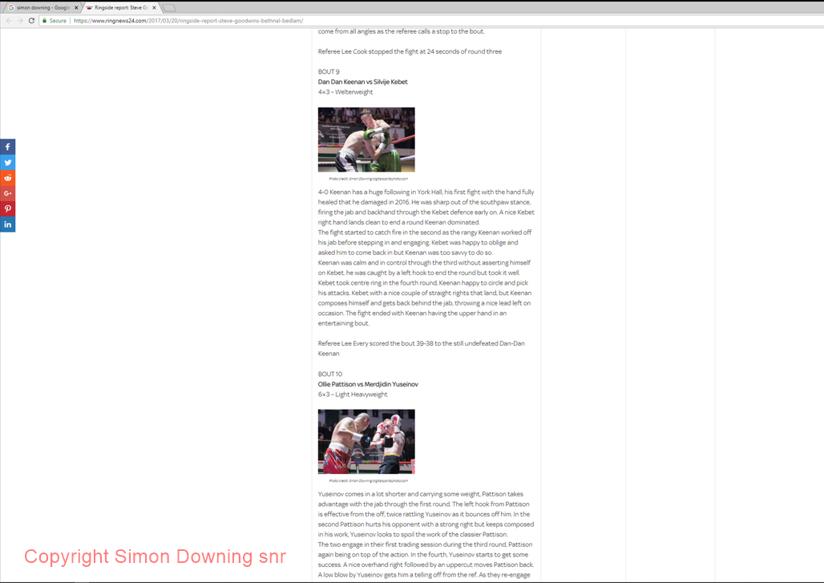 Dan dan Keenan vs Silvije Kebet and Ollie Pattison vs Merdjidin Yuseinov in Ringnews24