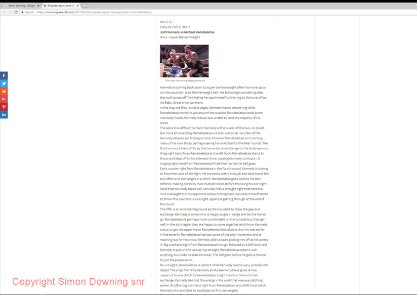 Josh Kennedy vs Michael Ramabeletsa in Ringnews24