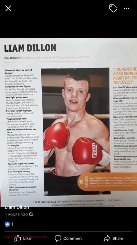 Liam Dillon in Boxing News