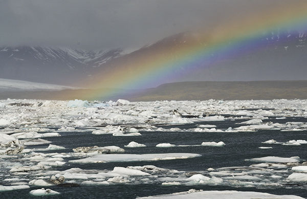 Rainbow at Jokullsarlon