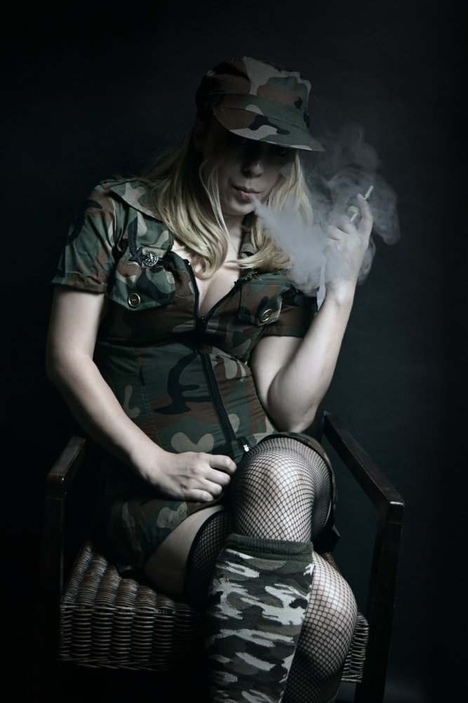 smoking army girl