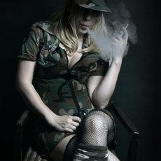 smoking army girl