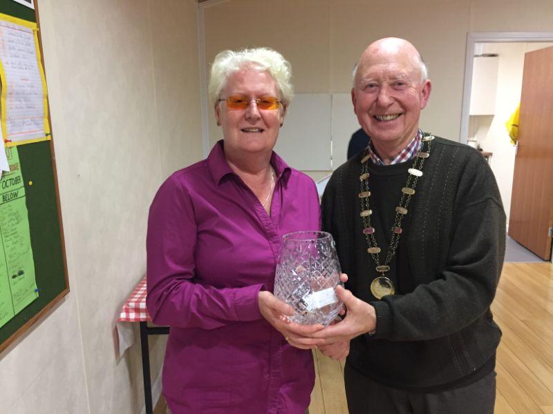 Sile Seery accepting trophy on behalf of Paddy Seery winner of Mens Singles 2018