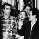 Yianis Kounelis, Stavros Kotsireas in discussion at the Royal Academy 1988, The Netherlands