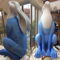 Alfred's Orchard Hare - base coat of blue paint