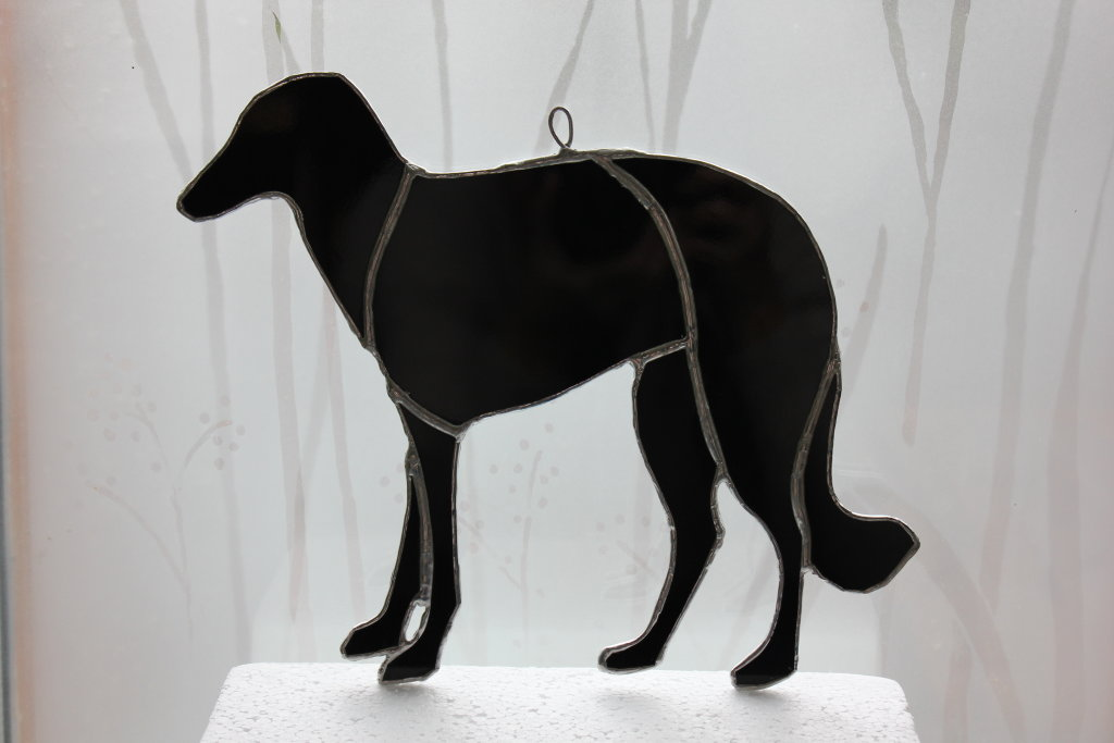 Pedigree Borzoi dog - custom glass hanging
