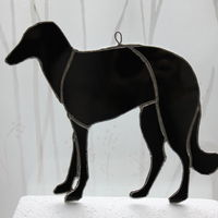 Pedigree Borzoi dog - custom glass hanging