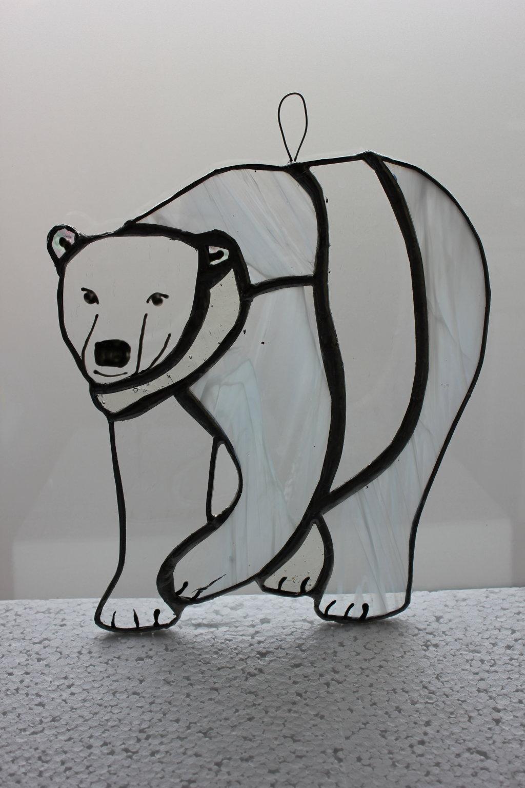 Polar bear glass hanging
