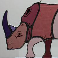 Pink & purple rhinoceros glass hanging