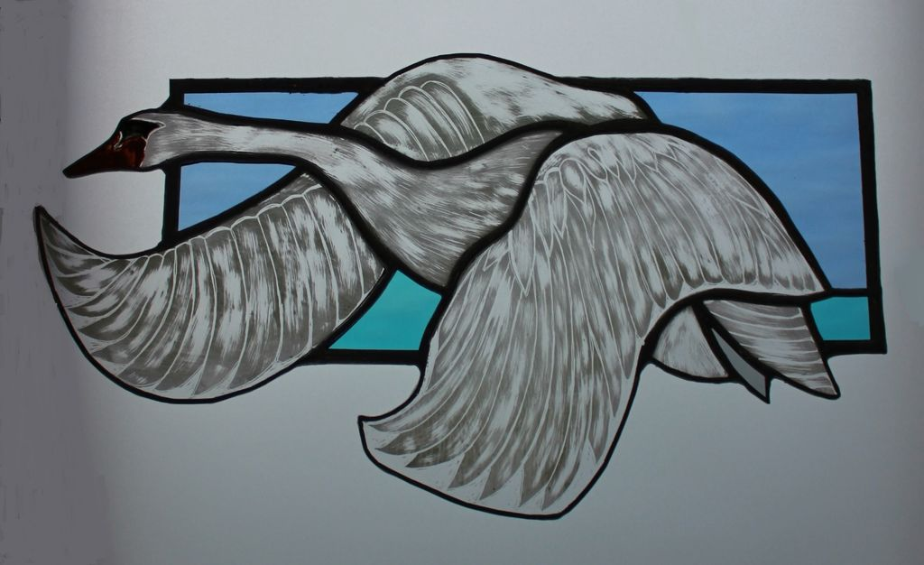 Sgraffito painted stained glass swan