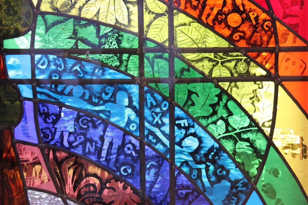 Close up of St Matthew's School window